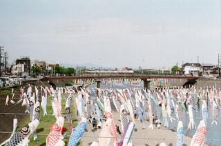 フェンスの横に立っている人々 のグループの写真・画像素材[1230122]