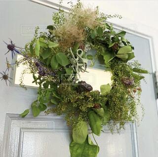 ブルーグレーのトイレのドアに手作りの野の花リースを飾る。の写真・画像素材[4409704]