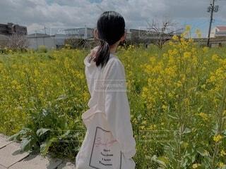 菜の花の前に立つ女性の写真・画像素材[4214711]