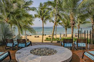 海,空,屋外,海外,ビーチ,島,水面,椅子,テーブル,樹木,旅行,ヤシの木,ベトナム,草木,パーム