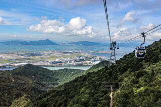 風景,空,屋外,雲,山,丘,樹木,香港,ゴンドラ