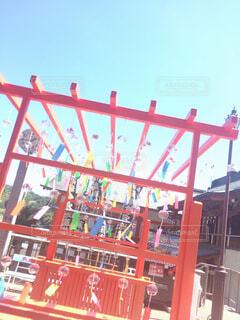 空,屋外,神社,赤,綺麗,美しい,風鈴,遊び場,テキスト