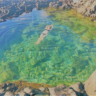 自然,綺麗,水面,葉,山,泳ぐ,峡谷