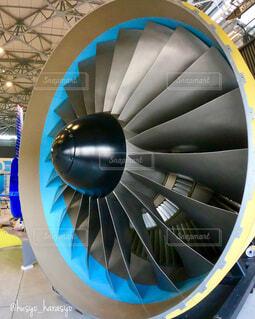 航空ミュージアムに展示されている実物のエンジンの写真・画像素材[4389491]