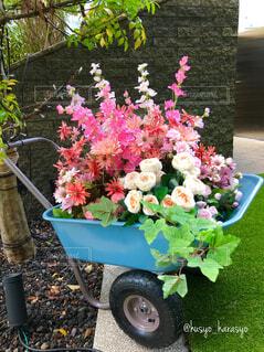 花,屋内,庭,屋外,かわいい,きれい,綺麗,葉っぱ,バラ,葉,美しい,樹木,都会,休憩,植木鉢,癒し,可愛い,オブジェ,タイヤ,たくさん,気分転換,カラー,二輪,運ぶ,手すり,ピンク色の花,草木,オアシス,休息,生花,造花,大名古屋ビルヂング,癒される,都会のオアシス,花々,ガーデン,フェスタ,長い,上がる,百貨店,荷台,下りる,便利,インスタ映え,キャリアー,気分が上がる,ガーデンフェスタ,テンションが上がる,キャリヤー