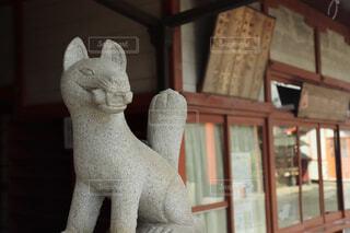 神社,銅像,キツネ,狐