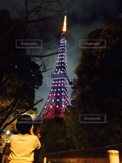 空,東京タワー,夜,屋外,タワー,樹木,人物,人,クリスマス,明るい,クリスマス ツリー