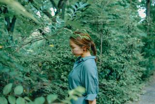 新緑の中に佇む女性の写真・画像素材[4450535]