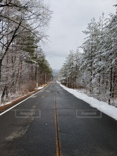 雪の残る直進道路の写真・画像素材[4661463]