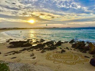 オーストラリアのゴールドコーストのビーチに模様が現れるの写真・画像素材[4243611]