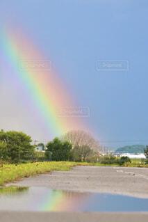 道路の上に虹の写真・画像素材[4247568]