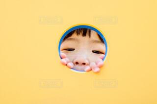 黄色い遊具からのぞく子供の写真の写真・画像素材[4310063]
