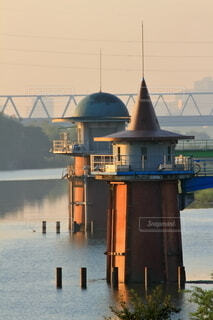 江戸川の取水塔の写真・画像素材[4246942]