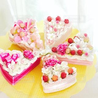 ケーキ,ピンク,かわいい,リボン,パーティー,卓上花,フラワーケーキ
