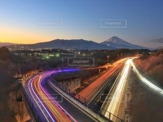 富士山てとレーザービームの写真・画像素材[4281153]