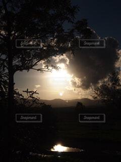 自然,風景,空,太陽,雲,北海道,雨上がり,夕景