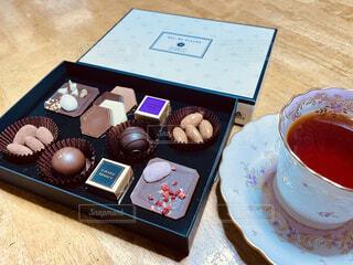 食べ物,カフェ,ケーキ,デザート,テーブル,リラックス,チョコレート,紅茶,おうちカフェ,おうち,菓子,おうち時間