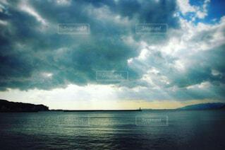 自然,風景,海,空,夕日,屋外,湖,ビーチ,雲,夕焼け,水面,くもり,日本海