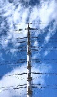 空,屋外,雲,鉄塔,タワー,電線,ワイヤー,ポール