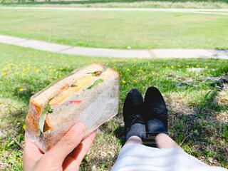 サンドイッチを持つ手の写真・画像素材[4361299]