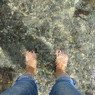 澄んだ川に足をつけるの写真・画像素材[4412788]