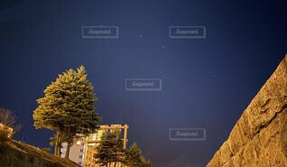 空,夜,夜空,屋外,星,樹木,小樽,川沿い,小樽運河