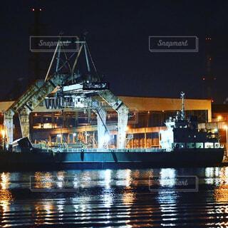 風景,夜,屋外,ボート,船,水面,港,車両
