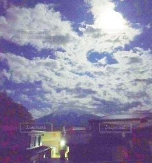 富士山,屋外,雲,月,絵画