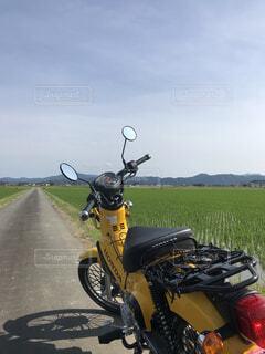 風景,空,自転車,屋外,駐車場,黄色,バイク,草,タイヤ,オートバイ,車両,ホイール,陸上車両