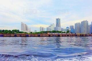 自然,風景,海,空,建物,屋外,船,水面,景色,都会,高層ビル,横浜,東京湾,遠景,みなとみらい,海上,眺め