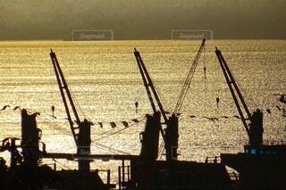 進水式当日、早朝の造船所の写真・画像素材[4415118]
