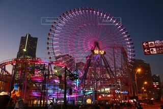 空,乗り物,夜,夜景,屋外,観覧車,横浜,明るい,景観,観光の名所