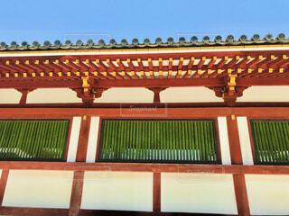 空,建物,屋外,緑,神社,赤,晴天,建築物,水色,観光,寺,宗教,朱