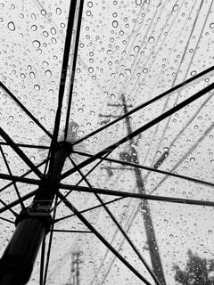 ビニール傘の雨粒と電信柱の写真・画像素材[4534643]