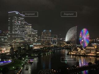 夜景,幻想的,水面,反射,ライトアップ,日本,横浜,河川,デート,みなとみらい,桜木町,神奈川