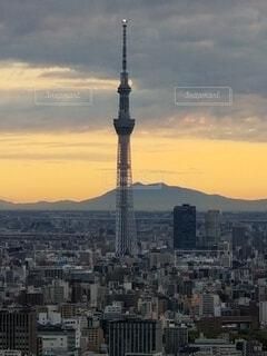 建物,ビル,屋外,雲,スカイツリー,山,タワー,朝焼け,高層ビル
