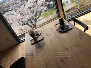 カフェ,建物,桜,テーブル,家具,デート,ココア,ブラックコーヒー