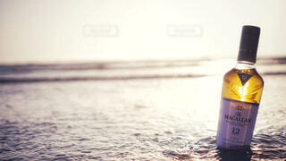 食べ物,自然,アウトドア,海,屋外,ビーチ,水,波,暗い,水面,ガラス,光,液体,旅,ワイン,ボトル,ビール,ガラス瓶,ウイスキー,バー,ドリンク,アルコール,飲料,テキスト,マッカラン,アルコール飲料,12年