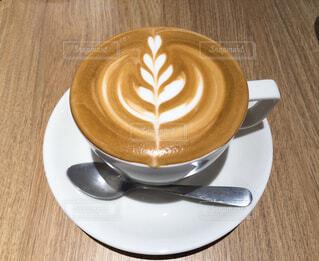 一杯のカフェラテの写真・画像素材[4603099]