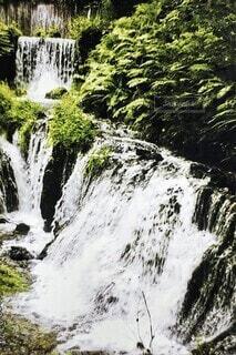 自然,風景,屋外,川,水面,山,滝,樹木,山中,カスケード
