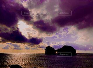 海,夕日,太陽,雲,夕暮れ,岩