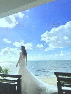 女性,風景,空,屋外,ビーチ,結婚式,花嫁,人物,人,ウェディングドレス