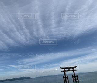風景,空,屋外,湖,雲,鳥居,眺め