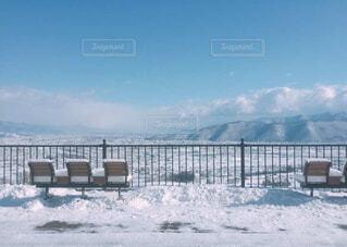風景,空,冬,絶景,雪,屋外,ベンチ,水面,山,鉄道,冷たい