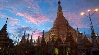 風景,空,建物,屋外,雲,夕暮れ,ミャンマー,仏教,仏,パゴダ