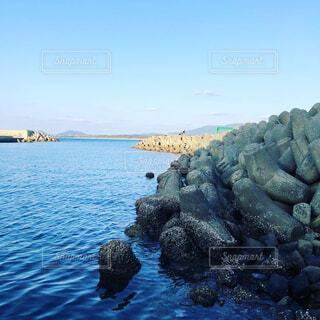 湖,水面,山,岩