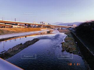 空,橋,屋外,湖,川,水面,朝焼け,旅行,朝