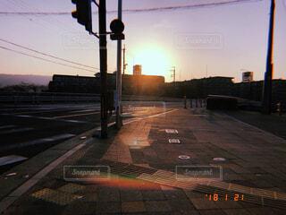 道路,日常,朝焼け,信号,日本