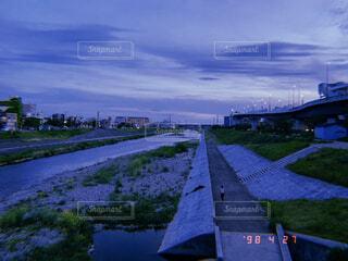 空,京都,夕焼け,川,鴨川