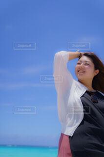 宮古ブルーを見ての写真・画像素材[4467896]